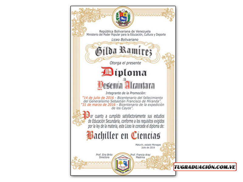 Diploma de 5to año tugraduacion.com.ve