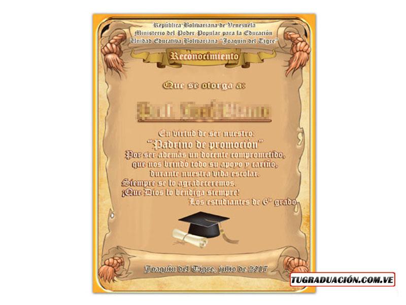 reconocimiento de graduacin al padrino reconocimiento para graduaciones a padrino
